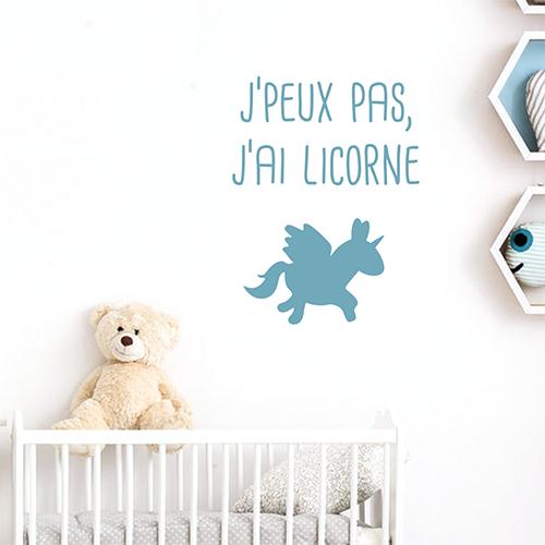 Autocollant bleu licorne decoration pour chambre d'enfant