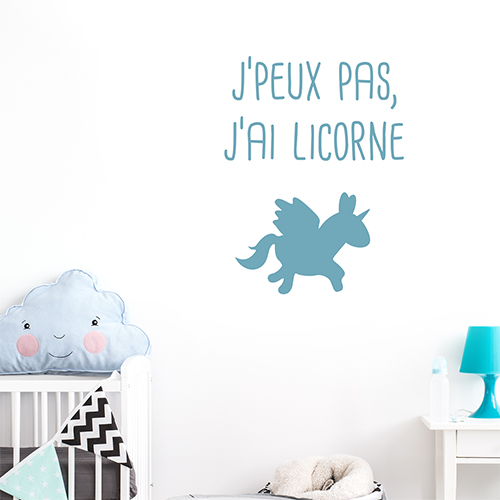 Adhésif déco pour chambre d'enfant licorne bleu