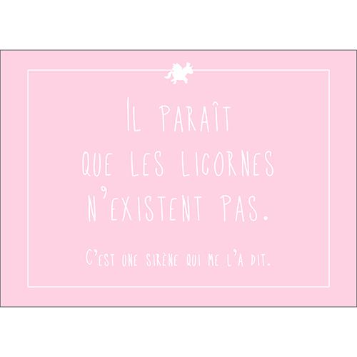 Sticker autocollant rose pâle citation licorne déco pour enfant