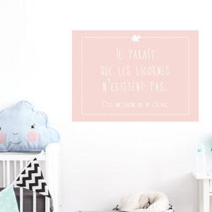 Autocollant décoration pour chambre d'enfant citation licorne rose pâle