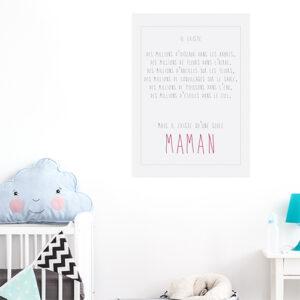 Adhésif affiche texte citation pour l'amour d'une maman décoration chambre d'enfant