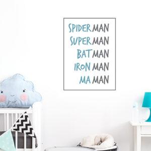 Autocollant spiderman et maman bleu et noir pour décoration de chambre d'enfant