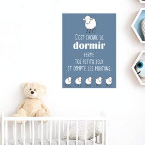 """Adhésif """"c'est l'heure de dormir"""" citation bleu pour décoration chambre d'enfant"""