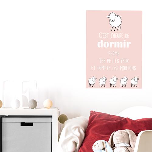 Adhésif décoration chambre d'enfant rose pâle citation