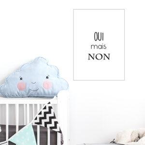 Autocollant texte citation noir et blanc pour décoration de chambre d'enfant