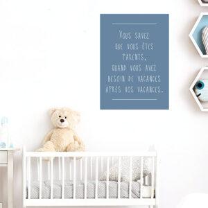 Adhésif citation les enfant et les vacances bleu pour décoration de chambre de bébé