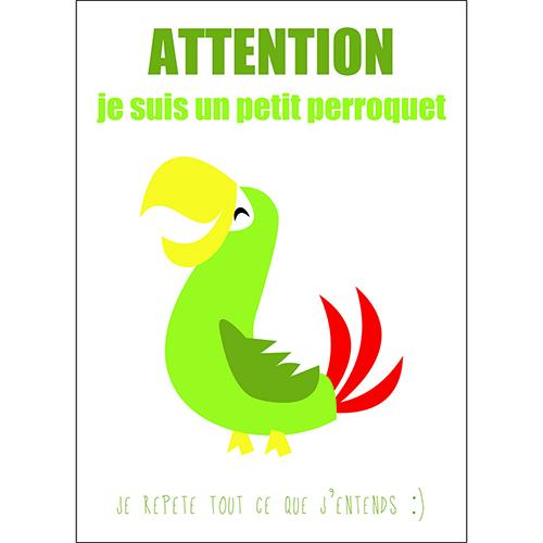 Sticker autocollant mural décoration perroquet pour enfant