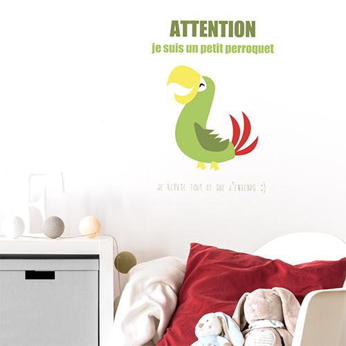 Autocollant perroquet vert pour décoration mural de chambre d'enfant