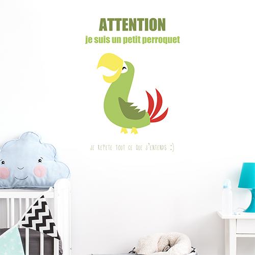 Adhésif décoration pour chambre d'enfant perroquet vert