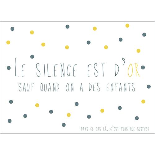 Sticker autocollant déco pour enfant citation Le silence est d'or