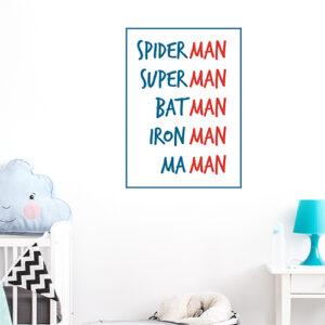 """Autocollant """"spiderman maman"""" sur mur d'une chambre de bebe"""