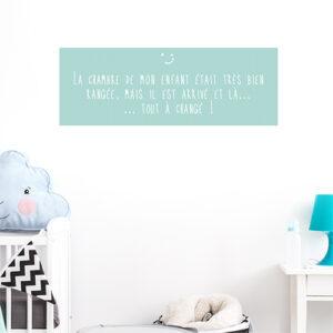 Autocollant décoration pour chambre d'enfant moderne citation bleu vert