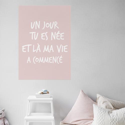 Adhésif pour decoration murale de chambre d'enfant citation amour rose