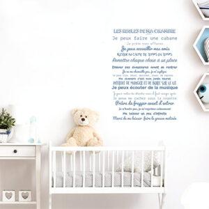 """Adhésif """"les règles de ma chambre"""" décoration bleu pour chambre d'enfant"""