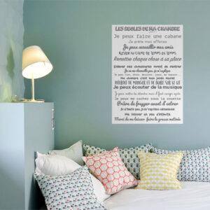 Sticker mural Les règles de ma chambre au dessus d'un lit