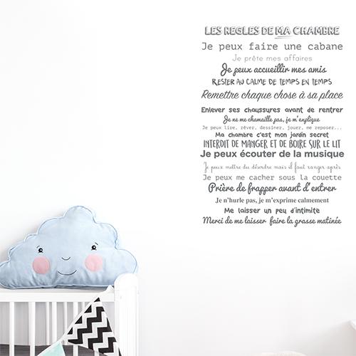 Sticker mural Les règles de ma chambre citation pour bébé