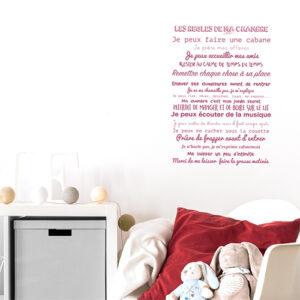 """Adhésif affiche texte déco """"les règles de ma chambre"""" rose pour chambre d'enfanr"""