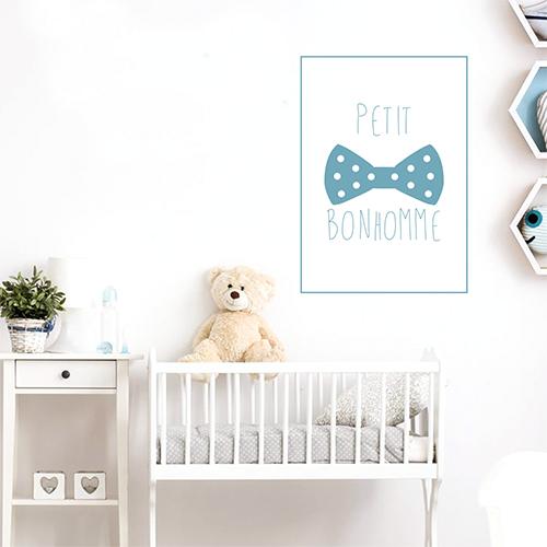 Autocollant décoration chambre d'enfant bleu petit bonhomme