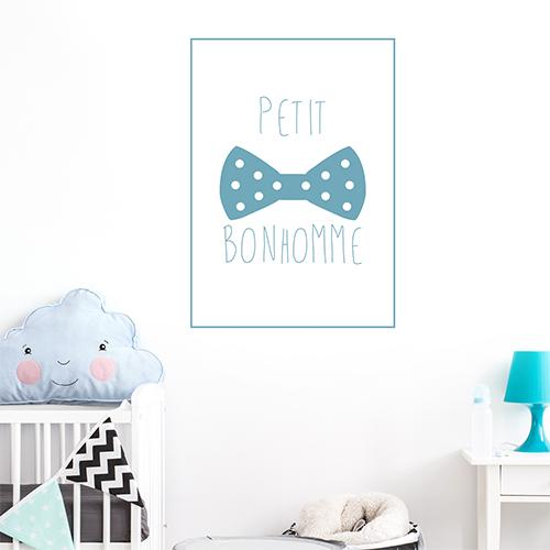 Adhésif bleu décoration petit bonhomme bleu pour chambre d'enfant