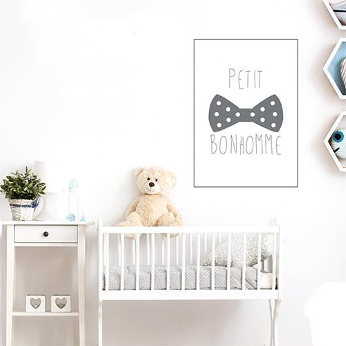Adhésif affiche petit bohomme gris pour décoration de chambre d'enfant