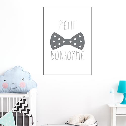 Autocollant décoration citation petit bonhomme gris pour chambre d'enfant
