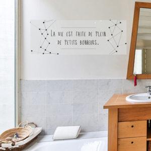 """Autocollant pour décoration de salle de bain citation """"la vie est faite de bonheurs"""""""