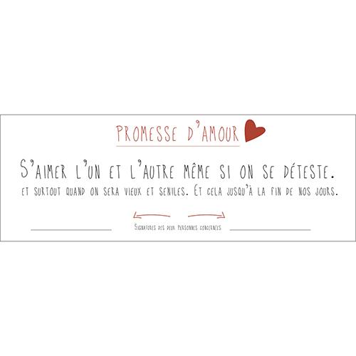 Sticker autocollant promesse d'amour décoration murale texte pour intérieur