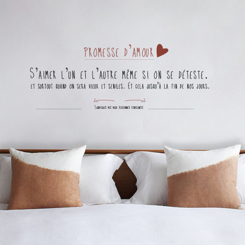 Autocollant citation promesse d'amour décoration murale de chambre d'adulte