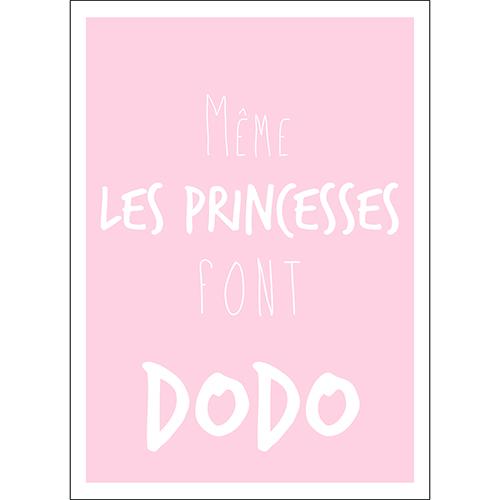 Sticker autocollant citation princesse dodo pour décoration chambre d'enfant