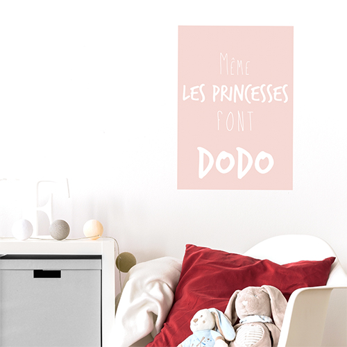 Sticker autocollant affiche rose pour chambre d'enfant citation princesse dodo
