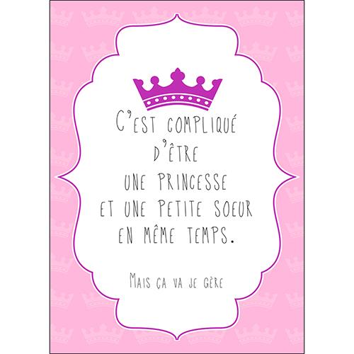 Sticker adhésif citation princesse et petite soeur deco chambre d'enfant