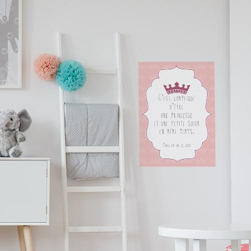 Adhésif affiche princesse et petite soeur citation decoration chambre d'enfant