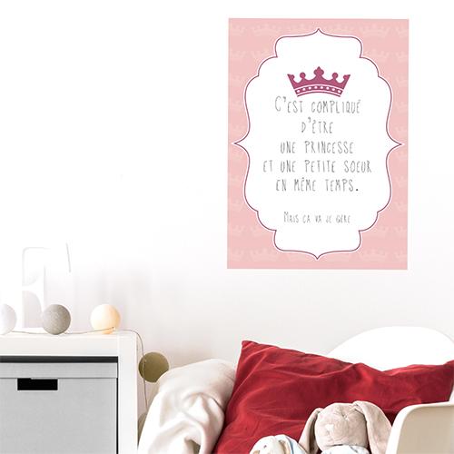 Autocollant pour déco chambre d'enfant citation princesse et petite soeur