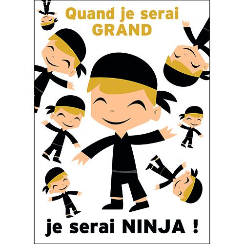 Sticker adhésif pour enfant décoration murale pour chambre ninja