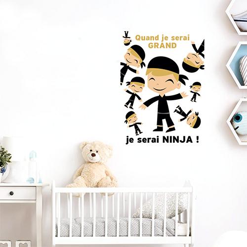 Sticker pour chambre enfant ninja affiche décorative pour mur