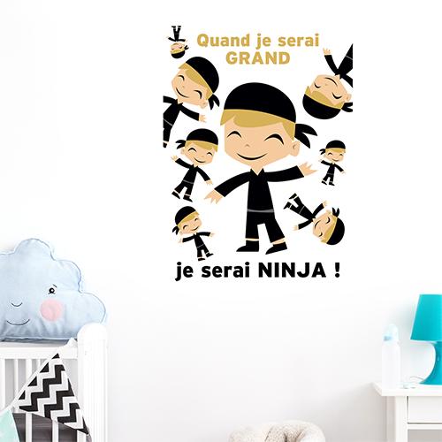 Autocollant affiche adhésive pour chambre d'enfant décoration murale ninja