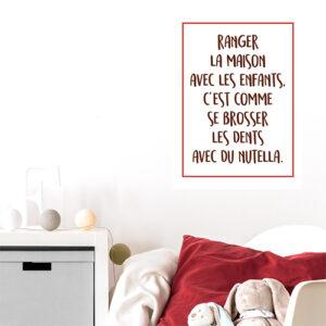 Autocollant citation nutella amusante pour deco de chambre d'enfant