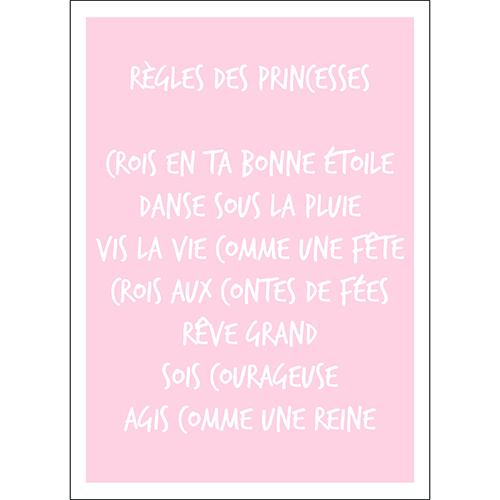 Sticker autocollant rose pâle règles des princesses déco murale pour enfant