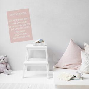 Autocollant rose pâle affiche des règles des princesses décoration pour chambre d'enfant