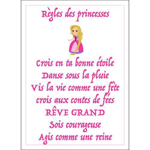 Sticker adhésif règles des princesses déco murale pour enfant rose foncé