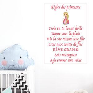 Adhésif règles des princesses affiche décorative pour chambre d'enfant rose
