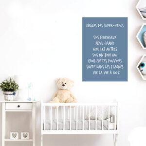 """Autocollant affiche murale pour decoration chambre d'enfant """"règles des superhéros"""""""