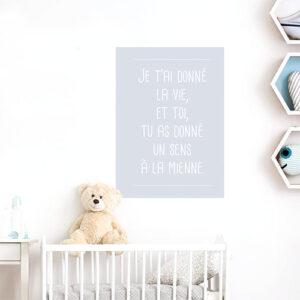 Adhésif citation amour affiche adhésive grise pour deco de chambre de bébé