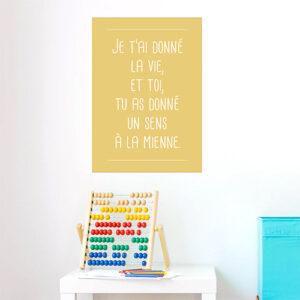 """Adhésif citation d'amour 'je t'ai donné la vie"""" jaune déco pour chambre d'enfant"""