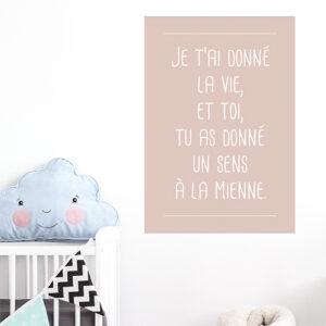 """Autocollant citation chambre d'enfant """"je t'ai donné la vie"""" décoration rose pâle"""