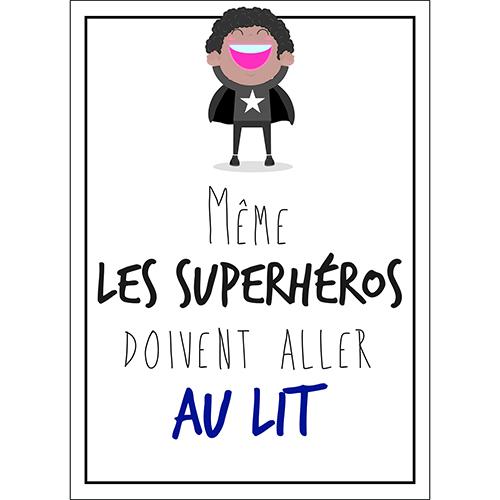 Sticker adhésif superhéros pour déco chambre d'enfant citation