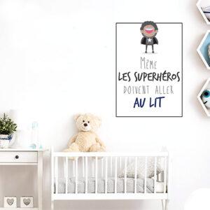 """Adhésif """"même les superhéros doivent aller au lit"""" pour décoration de chambre de bébé"""