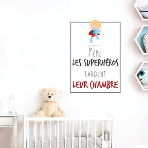 """Autocollant décoration pour enfant citation """"même les superhéros rangent leur chambre"""""""