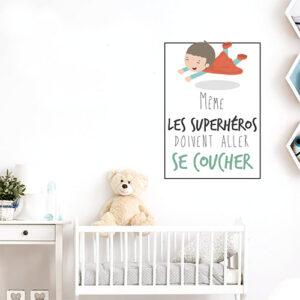 """Autocollant citation pour enfant """"même les superhéros doivent aller se coucher"""" déco chambre de bébé"""