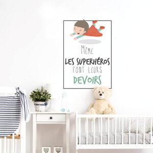 """Autocollant déco superhéros chambre d'enfant citation """"même les superhéros font leurs devoirs"""""""